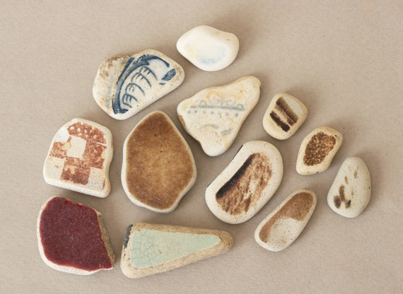 Beach Pottery - 12 Pieces