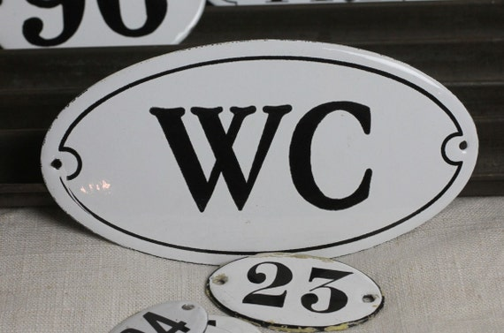 """French Enamel sign """"WC"""""""