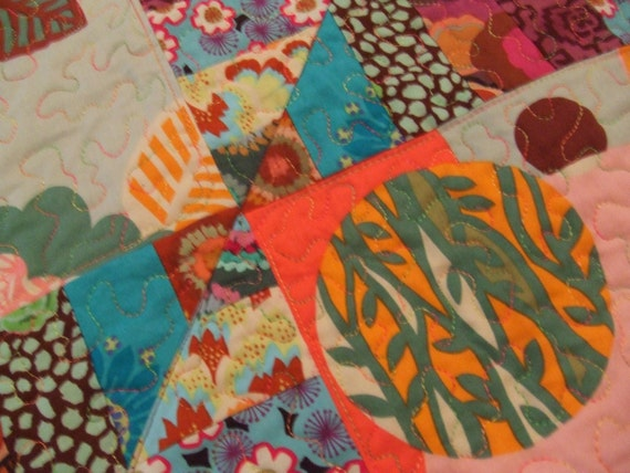Mint Julep Modern Floral Quilt-Free Shipping by NonnaZac on Etsy