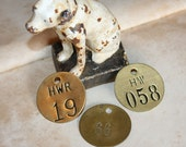 Salvaged BRASS TAGS with Numbers for Mixed Media and Altered Art
