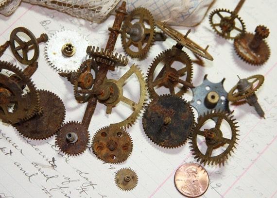 Steampunk Rusted Clock GEARS