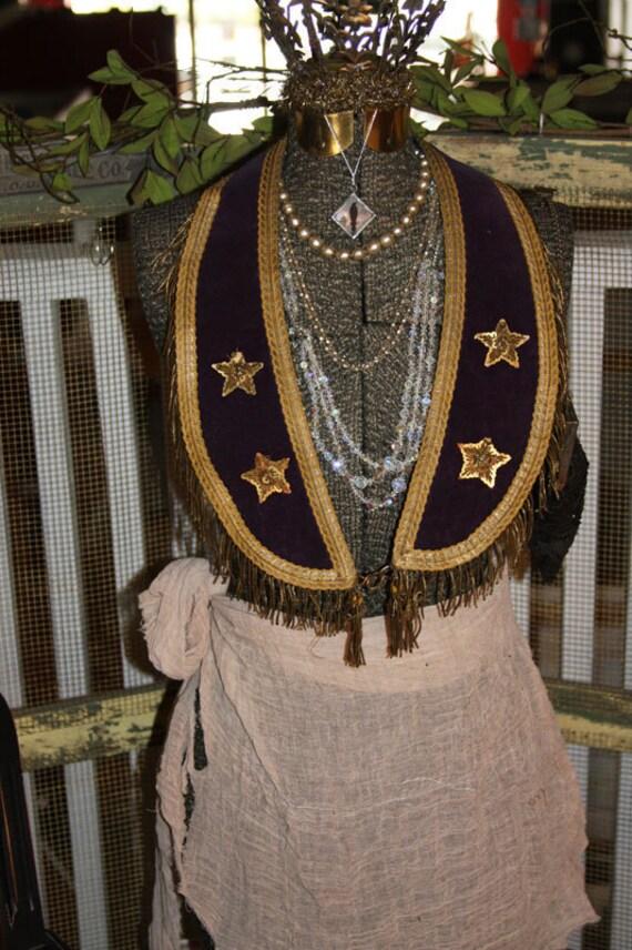 Royal Purple Shrine Mason COLLAR with Metal Fringe and Stars