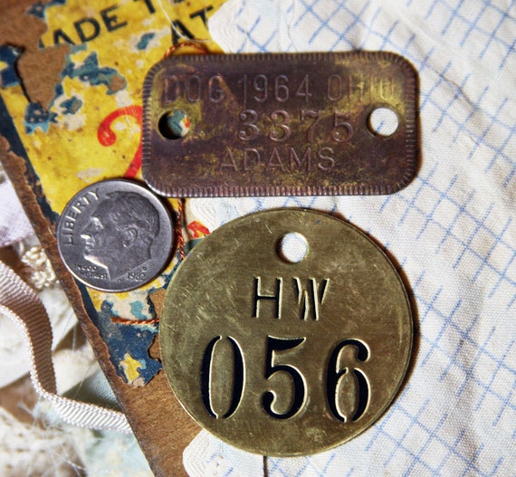 Number & Dog Tag with Distressed Patina