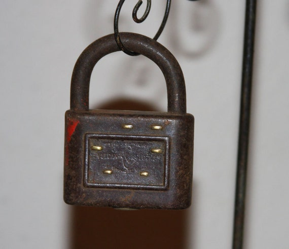 Salvaged PADLOCK with Distressed Charm (SALE)