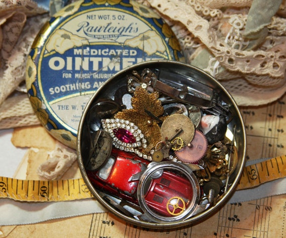 Vintage Tin LOADED with Collectibles