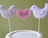 Personalized Dove and Heart Felt Wedding Cake Topper