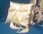 Simple Bow Ivory Satin Ring Bearer Pillow
