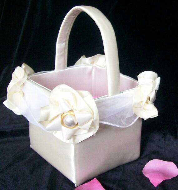 Ivory Garden Flower Girl Basket