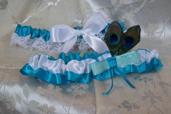 Turquoise Blue and Peacock Feather Garter Set of 2