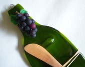 Eco Friendly Recycled Fused Glass Flattened Bottle Cheese Serving Tray