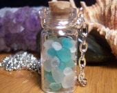 Glass Vial Necklace Glass Bottle Necklace Ocean Sea Treasure Sea Glass  - 20 inches