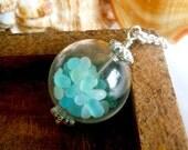 Silver Seaglass Sea Glass Long Beach Boho Ocean Treasure Necklace - 20 inches