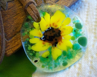 Fused Glass Pendant - Sunflower