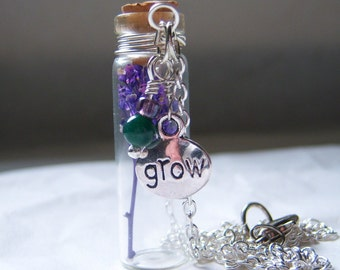 Glass Vial Necklace Glass Bottle Necklace  Make a Wish Necklace with Purple Flower - 26 inches