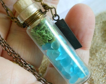Glass Vial Necklace Bottle Moss Terrarium Seaglass Copper 24 inch Copper Chain with word Inspire Charm Tag Beach Ocean Summer