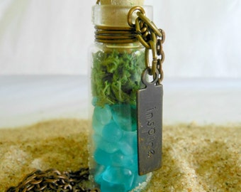 Glass Vial Necklace Bottle Moss Terrarium Seaglass Copper 30 inch Copper Chain with word Inspire Charm Tag Beach Ocean Summer