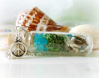 Glass Vial Necklace Bottle Moss Terrarium Seaglass Silver Peace Sign Beach Ocean Lake Michigan Summer