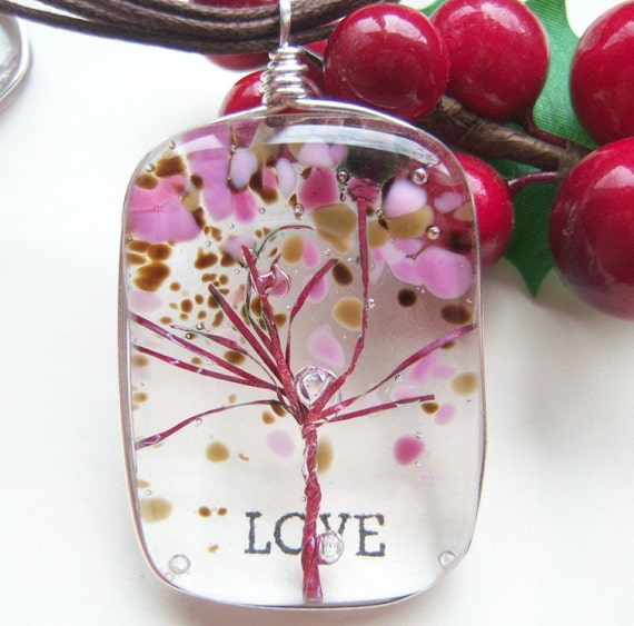 Cherry Blossoms Tree of Life Fused Glass Wire Wrapped Pendant Branches Blossoms Pink Brown mothers day gift family tree