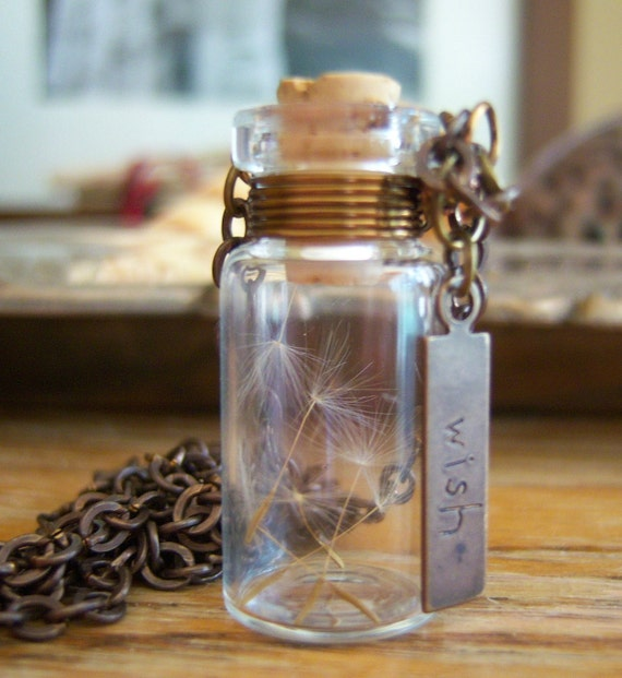Glass Vial Necklace Glass Bottle Necklace  Make a Wish Necklace with Dandelion Seeds Antique Brass - 20 inches