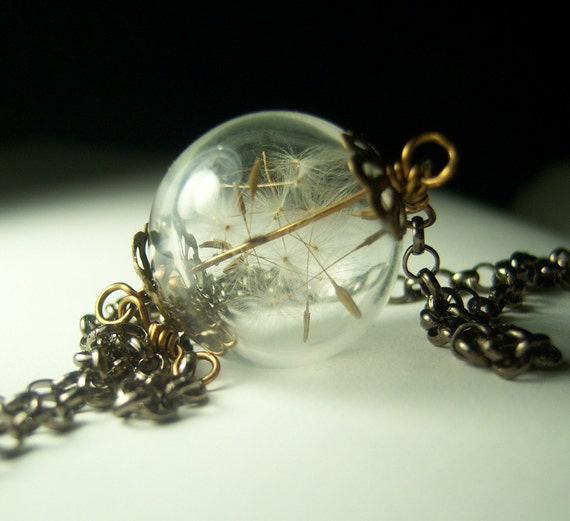 Dandelion Necklace Silver Make A Wish Glass Bead Orb Dandelion Seed Transparent Round Beadwork Flower Botanical
