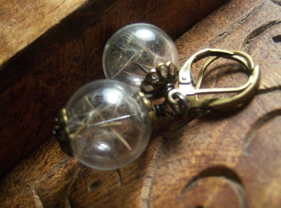 Dandelion Earrings Make A Wish Dandelion Seed Hollow Lampwork Bead Round Earrings in Antique Brass