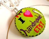 Handmade Love Necklace - Original Painting on Wooden Pendant
