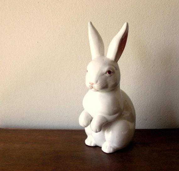 Large White Rabbit Porcelain Figurine