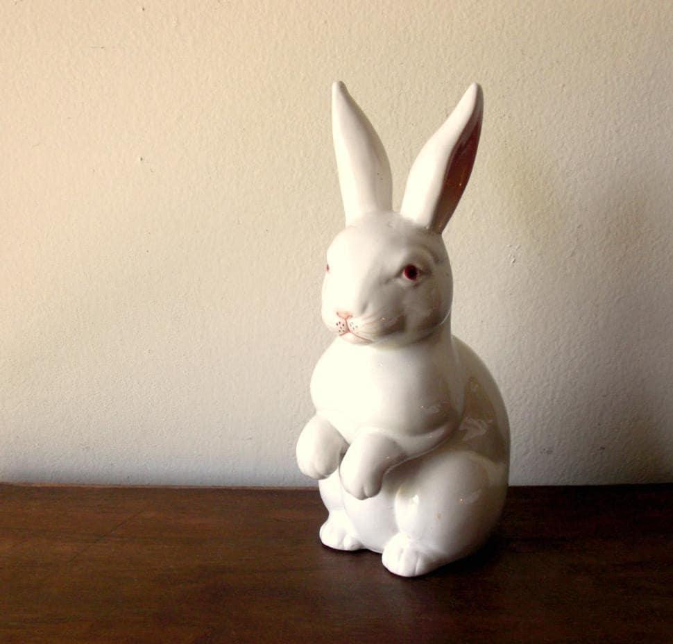 Large White Rabbit Porcelain Figurine By Thewovenwolf On Etsy