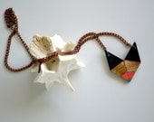 Yuchi Rainbow Dipped Arrowhead Chevron Geometric Tribal Necklace in Black, Gold, Coral, Orange and Turquoise  Color Block