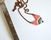 Yuchi  Arrowhead Chevron Geometric Tribal Necklace in Salmon Pink, Metallic Gold, Gray, Turquoise and White