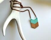 Yuchi Mini Arrow Chevron Tribal Necklace in Mint and Gold Color Block