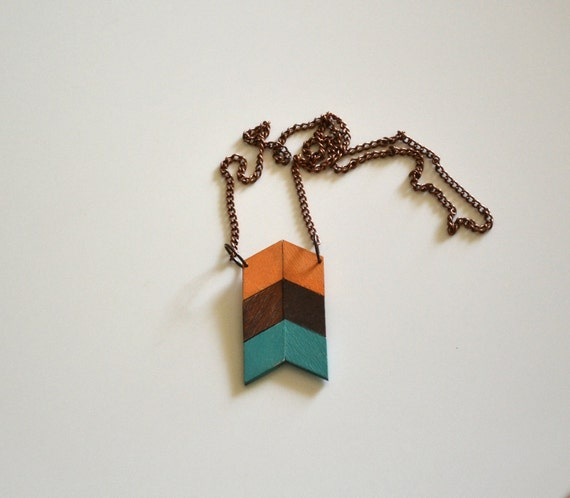 Yuchi Arrow Chevron Tribal Necklace in Melon Orange, Brown and Aqua Color Block