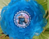 SMURFETTE  chiffon flowerHAIR CLIP with smurfette bottle cap center