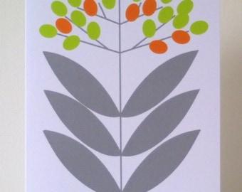 Elderberry Note Card - Green