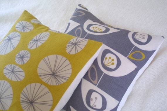 Connections yellow retro pillow cushion cover