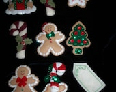 HANDMADE ORNAMENTS 8 embellishments for Tree Stocking or Packages