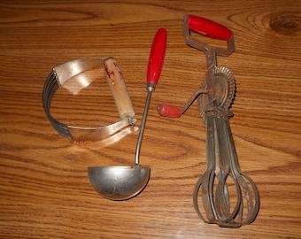 3 Vintage Antique Red Handled Kitchenware Ladle EggBeater Pastry Blender