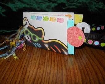 8 pg NEON KITTY HANDPAINTED Handmade PurseSize Album Pet School Kid Pics Keepsake Memories