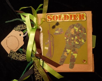 SOLDIER 18 page Military Green embellished Photo Album Add Your PHOTOS Handcrafted Keepsake Scrapbook Memories