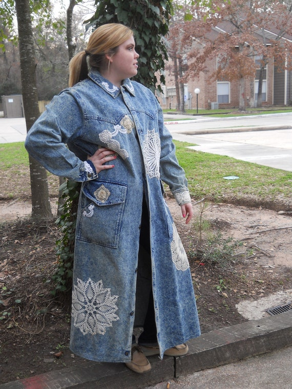 Wedding dress Cover LARGE to PLUSSize Brushed Denim DusterCoat with Vintage Crochet  Prom Dress Cover