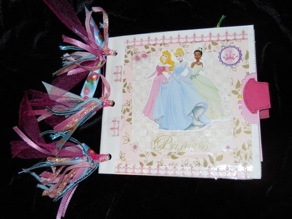 PRINCESS Pink Blue Green embellished Photo Album Add Your PHOTOS  Handcrafted Handmade Keepsake Scrapbook Vacation Memories