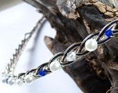 Saltire Blue Scottish Bridal Headband Halo Pearl and Crystal Celtic Wedding Tiara Wedding Halo