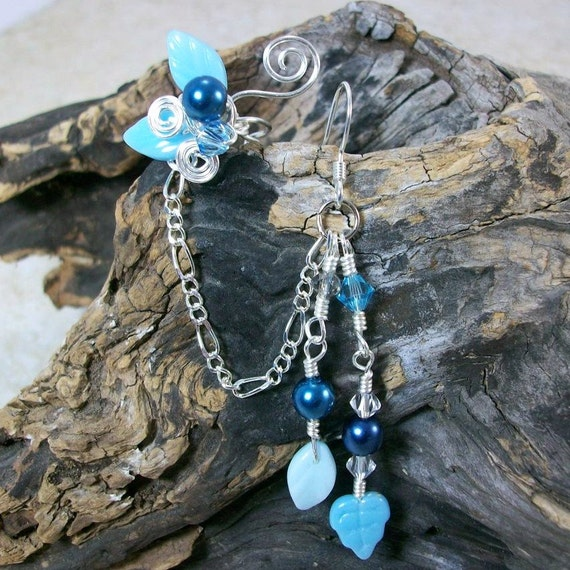 Chain Ear Cuff Earring Beach Bohemian Wedding Ear Jacket, Fantasy Jewelry, Gypsy Earrings, Fairy Jewelry, Something Blue, Bridal Ear Cuff