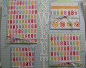 Premade Scrapbook Pages - SWEET As Candy- 12x12 Layout- Glitter, Stitched