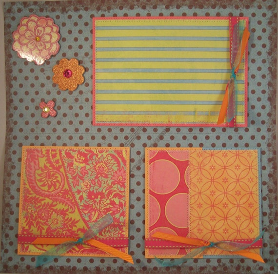 Premade Scrapbook Pages - 12x12 Layout - Polka Dot Flowers
