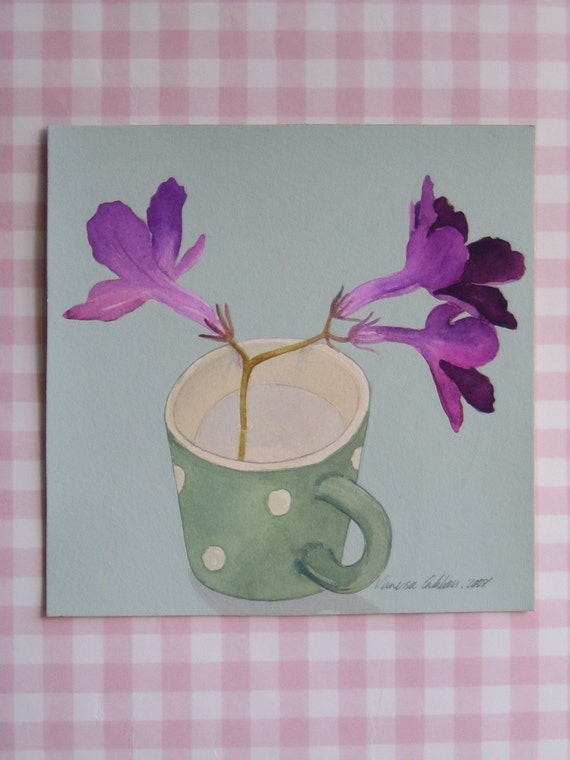 Streptocarpus in a spotty mug
