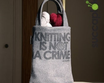 "SUCCAPLOKKI -  14"" Knitting Bag, Gray knitting tote made out recycled army felt and second hand jeans (lining)"