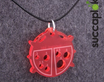 PIRKKO - Knitters pendant EUR/mm, Red ladybug pendant with mm-scale knitting needle gauge, made out of recycled plastic