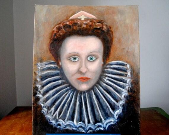 Vintage Original Portrait Painting of Queen Elizabeth of England