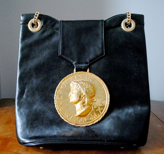 RESERVED Vintage Black and Gold Medallion Bag Purse Caesar Roman